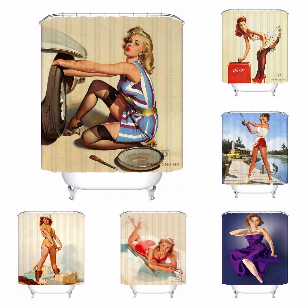 Custom Waterproof Shower Curtain Pin Up Girl Printed Bathroom Decor Various Sizes #180320-02-240