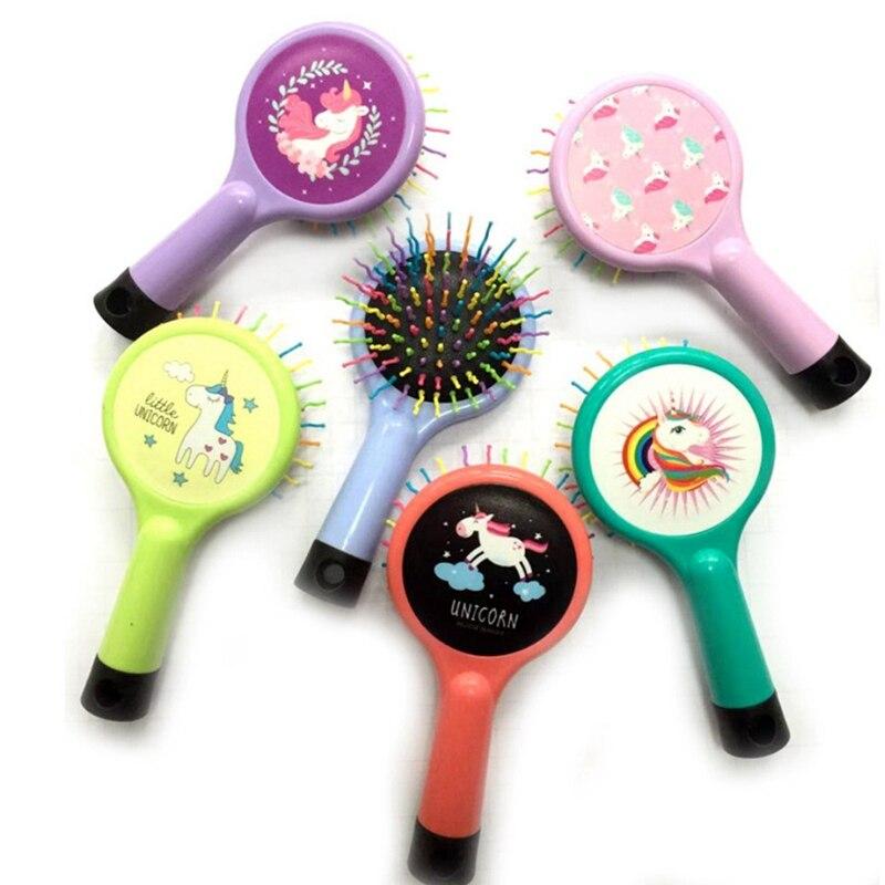 1 Piece Unicorn Hot Selling Rainbow Volume Anti-static Magic Hair Curl Straight Massage Comb Brush Styling Tool