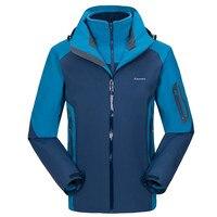 Для мужчин зимние Пеший Туризм куртки два комплекта флис флисовая куртка ветрозащитная теплая три в одном Jaqueta пальто с капюшоном