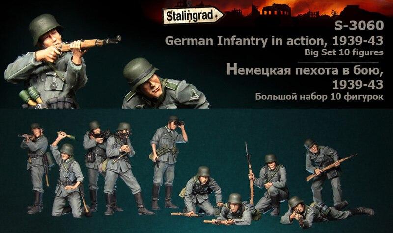 Stalingrad S 3060 German Infantry in action 1939 43 Big set 10 figures 1 35 Resin