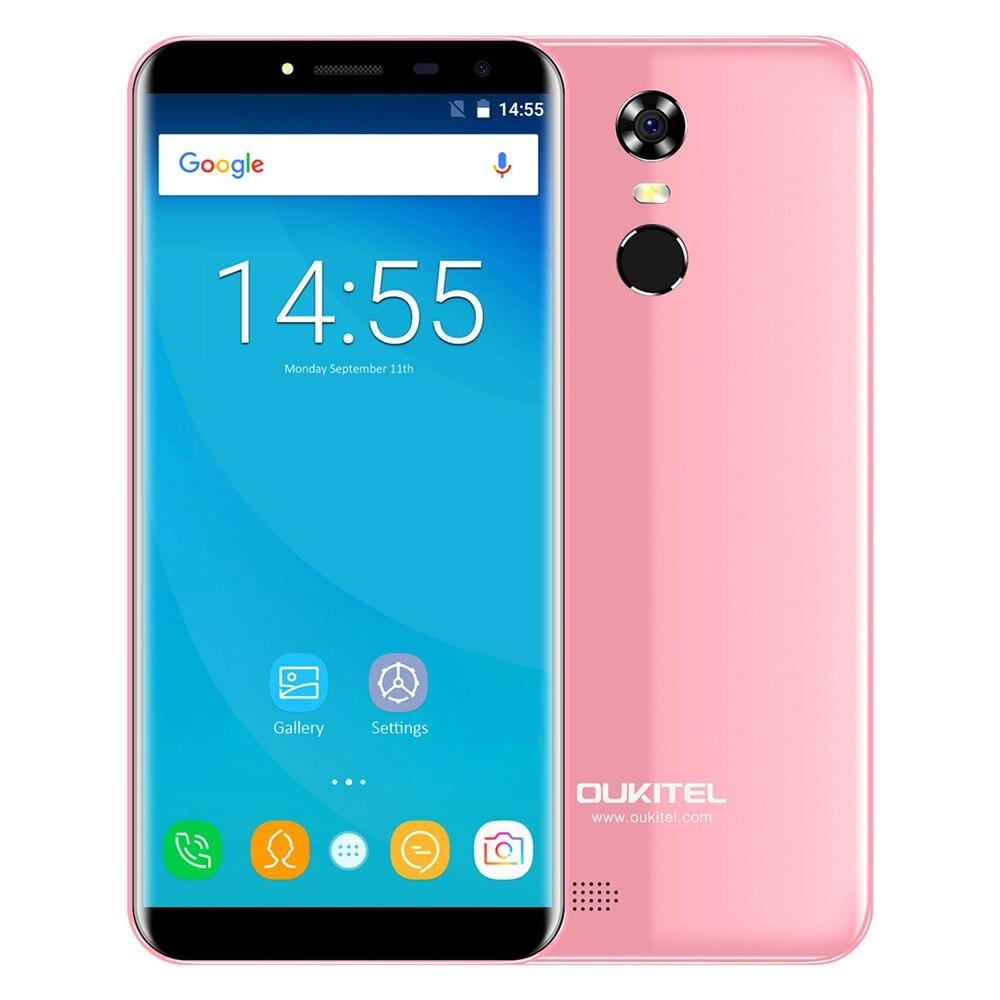 OUKITEL C8 3g 5.5 pouce 2.5D Arc Écran Android 7.0 MTK6580A 1.3 ghz Quad Core 2 gb 16 gb scanner d'empreintes digitales 8.0MP Arrière Caméra