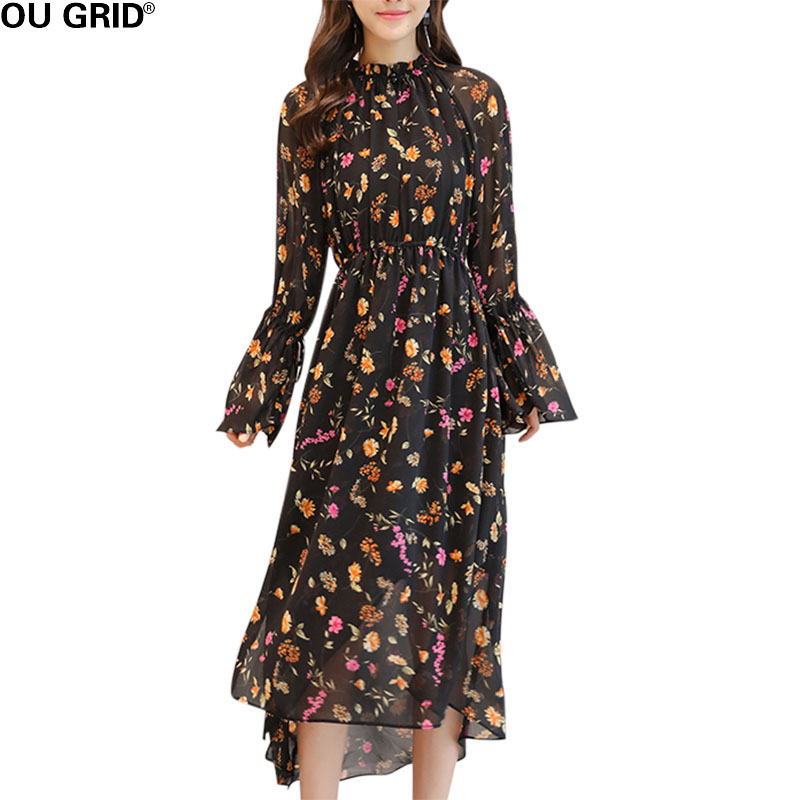 Women Floral Print Chiffon Dress 2018 Spring summer Bohemian Dress Long Flare Sleeve Asymmetrical Beach Dress floral chiffon dress long sleeve