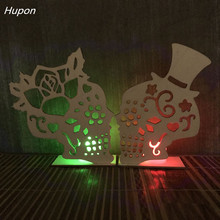 Halloween Decorations for Home Decoration Horror House Skull LED Candle Lights Wood Skeleton Ornaments Props