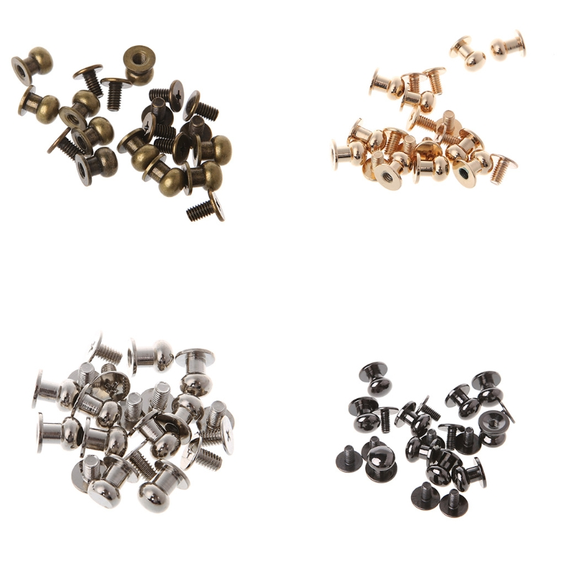 Newest 10pcs 8mm Modern Round Head Nail Screw Belt Durable Solid Brass Bag Stud Back Copper DIY