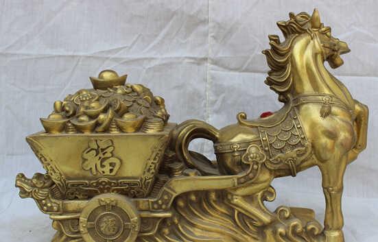 """Scy بالجملة مصنع 16 """"الصينية النحاس الشعبي العام زودياك تشغيل الحصان حمل الكنز ثروة تمثال"""