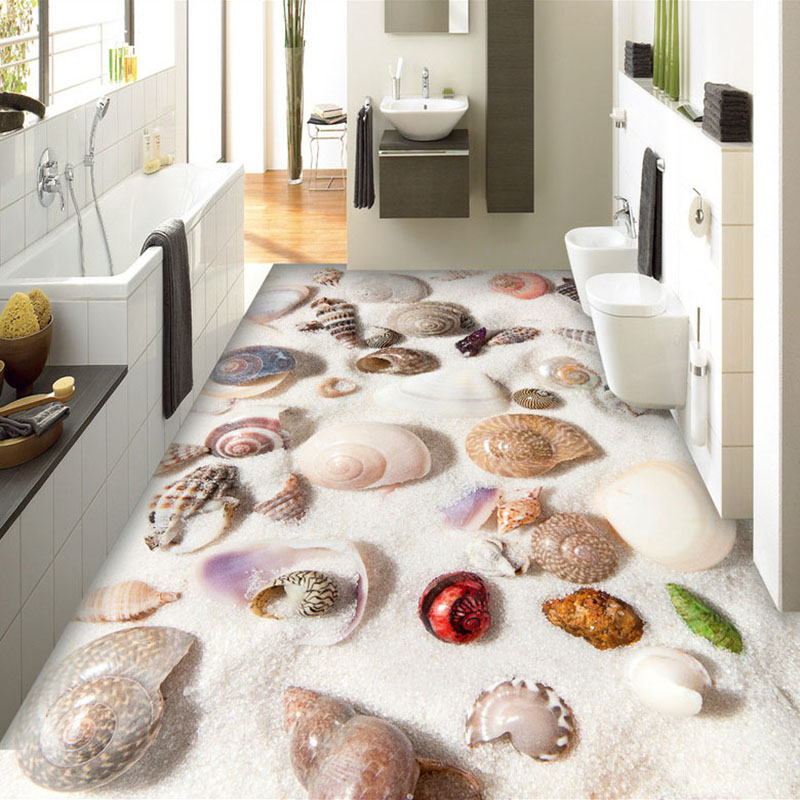 Custom 3D Floor Murals Beach Shells Conch Floor Sticker Mural Bathroom Kitchen PVC Waterproof Self-adhesive Wallpaper Painting custom floor wallpaper beach shells and starfish bathroom floor mural paintings self adhesive waterproof wall papers home decor