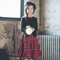 Англия стиль длинные юбки для новорожденных девочек-подростков красный плед плиссированные юбки девушки 2017 новая весна осень зима детская одежда