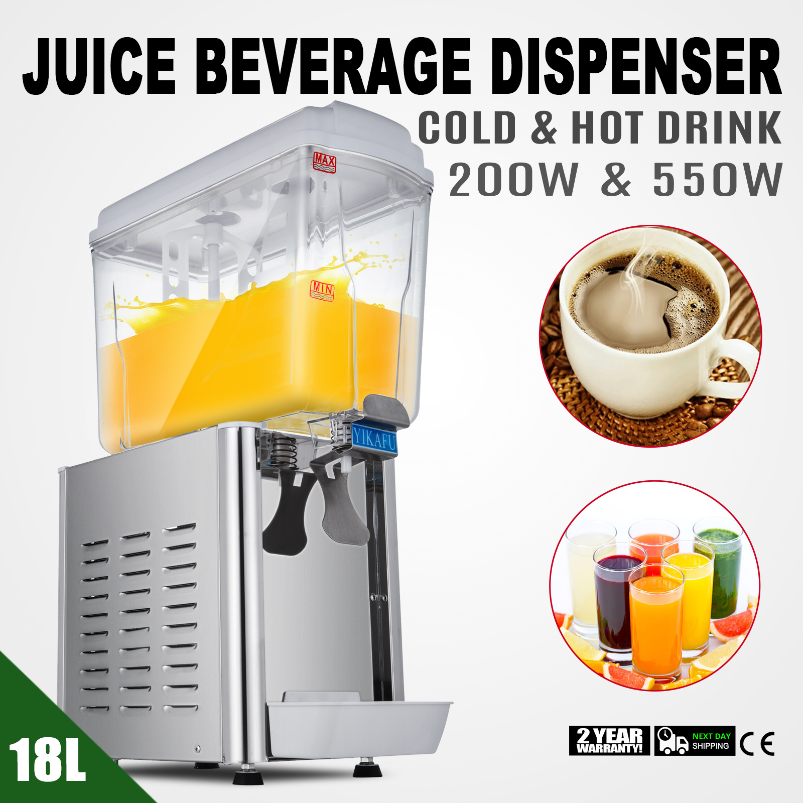 Classic Bubbler Style Commercial 18L 4.75Gal Hot Cold Drink Juice Dispenser Beverage Milk Juicer
