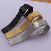 Black Gold Stainless Steel Milanese Mesh Wristwatch Bands Straps Watch Bracelet For Men Women Hours 14mm
