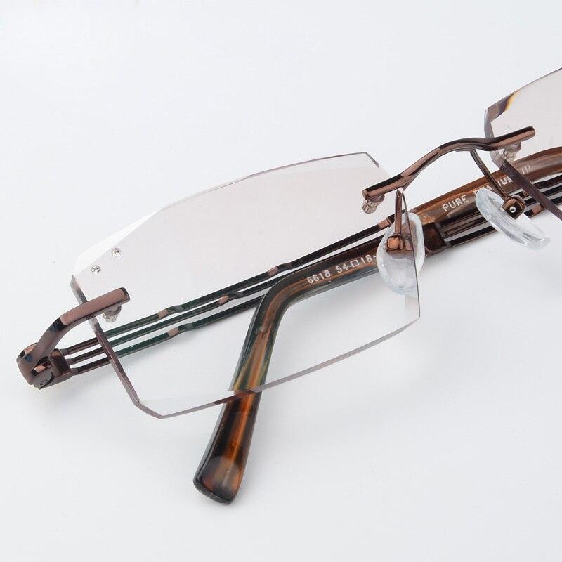 XINZE luxusní soukromé zakázkové titanové brýle bez obrubníků 1.61 vysoce čiré čočky mužské myopické brýle zlaté presbyopické brýle