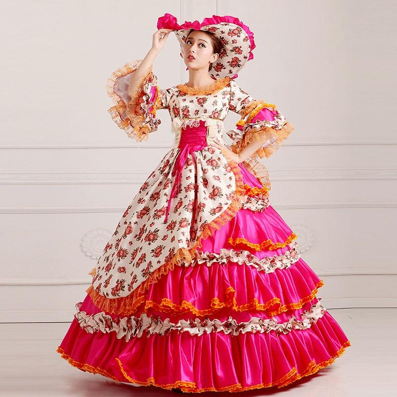 Индивидуальные 2018 благородный красный Цветочный принт Мария Антуанетта Вечеринка платье 18th века викторианской бальные платья для дам