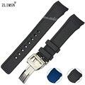 Para Iwcwatch Borracha Pulseiras De Relógio Homens Mergulhador Extremidade Curva Azul Preto Faixas de Relógio de Pulseira de Prata Fivela 21mm IWC321 Relojes Hombre