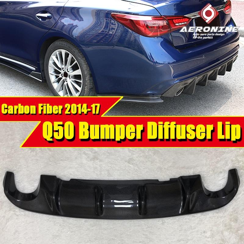 Para Infiniti Q50 Rear Bumper Lip Spoiler Difusor Q50 Q50S Adicionar no Estilo Do Carro Preto De Fibra De Carbono Lábio Pára Difusor 2014-2017