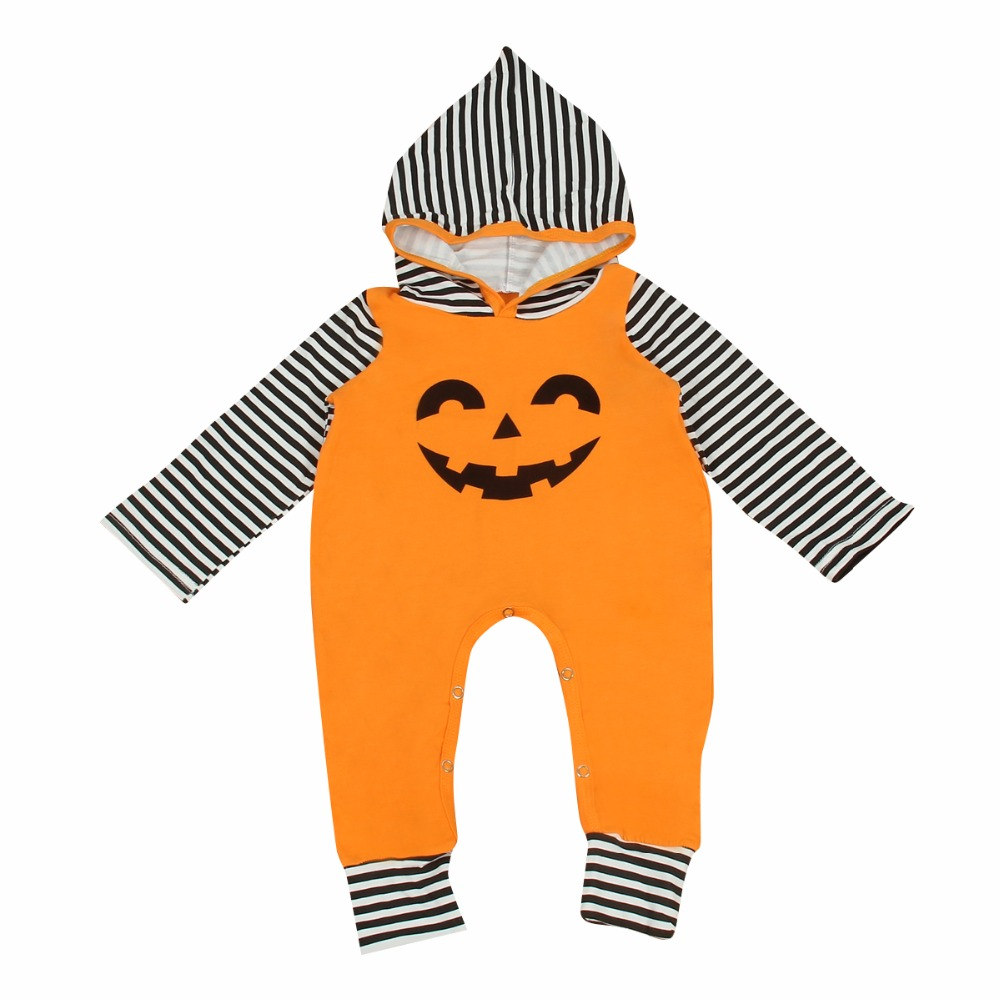 Puseky 2018 New Baby Halloween Pumpkin Hoodies Clothes Newborn Infant Warm Romper Jumpsuit 0-24M