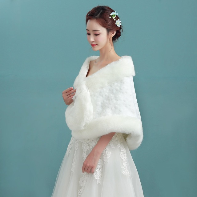 Bolero Ivory Bridal Wraps Winter Wedding Cape Free Shipping Faux Fur ...
