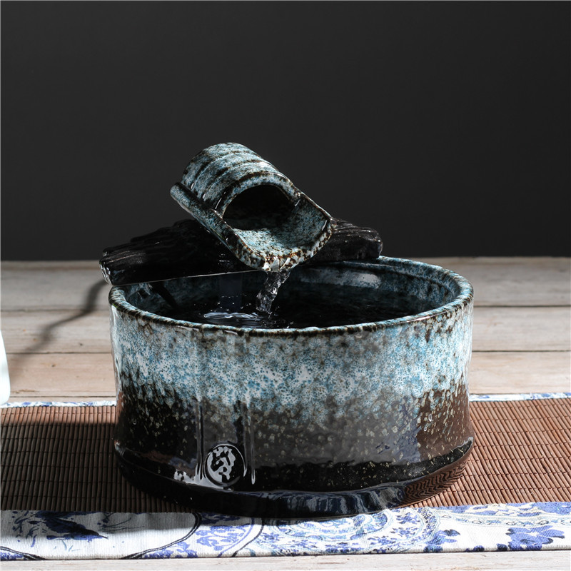 Ceramics Indoor Water Fountains Retro Decorative Crafts Feng Shui Well Desktop Fountain For Home Office Teahouse Figurines