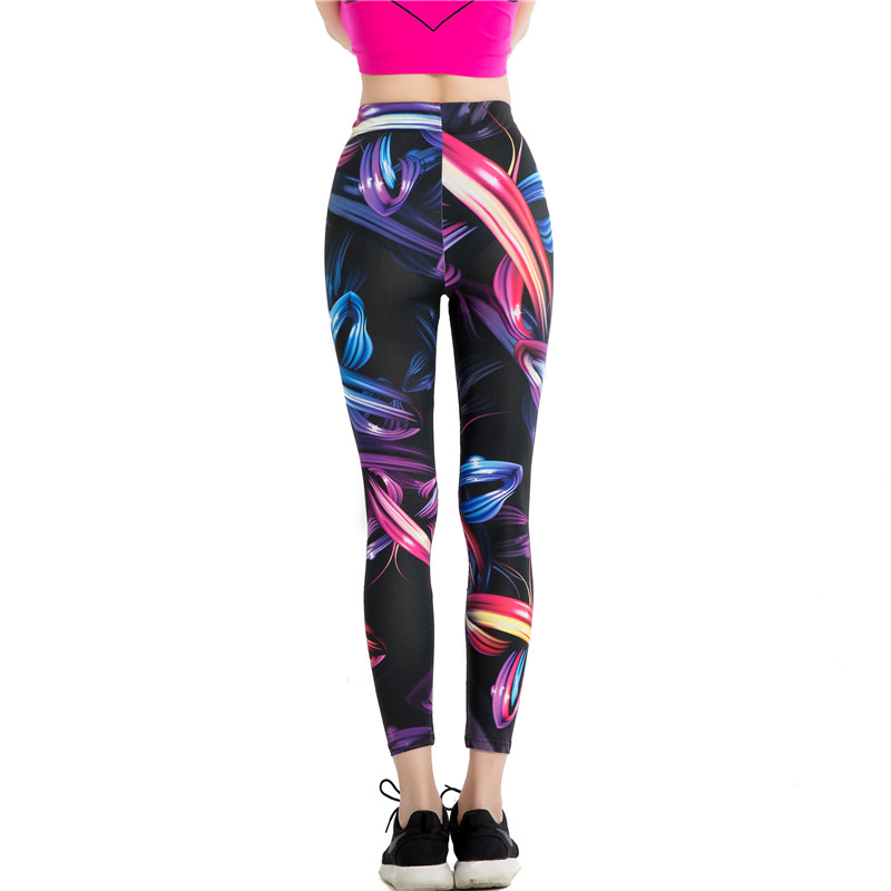 New 2018 Design Leggins Fashion style Elastic Graffiti Spray ribbon Legins Printed Women Leggings Women Pants WAIBO BEAR