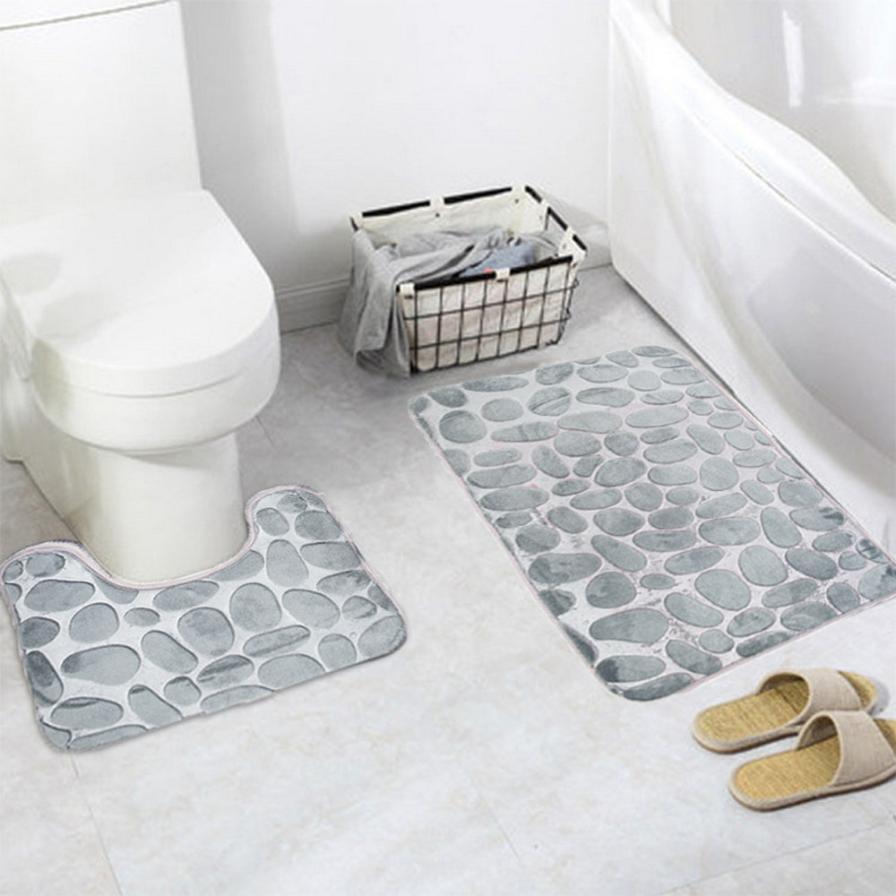 Ouneed 2PCS Coral Velvet Soft Non Slip Safety Bathroom Shower Tapete ...