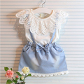 CLEARANCE oddler Girls lace Dress Summer 2016 kids denim Dress Baby short sleeve Dress 2-6y Toddler baby girls clothing