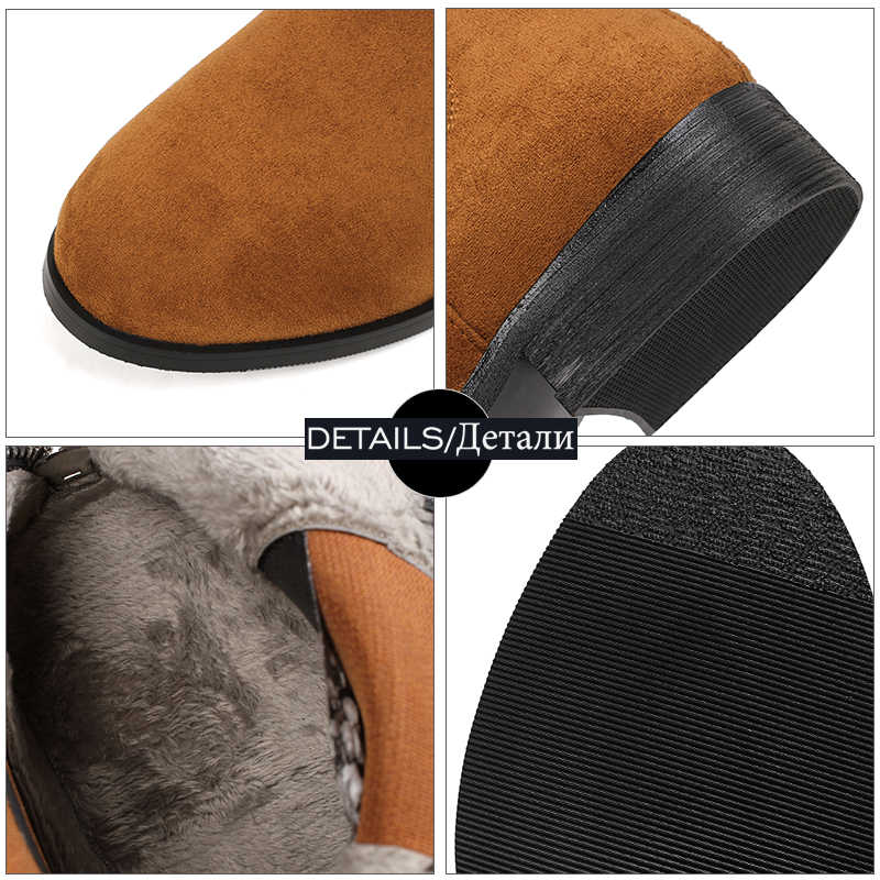WETKISS Kış Kalın Topuklu Kadın Çizmeler Yuvarlak Ayak Püskül Zip Ayakkabı Kauçuk Akın Kadın Çizme Rahat Kız Ayakkabı Kadın 2018 yeni