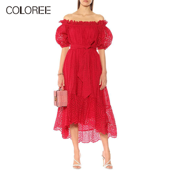 COLOREE European High Quality Women Midi Dress Sexy Slash Neck Hollow Out patchwork Lace Up Puff Sleeve Chic Irregular Dress