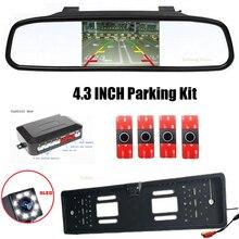 Dual Core CPU Video System Car Parking 4 Sensor 16.5MM Reverse Backup Radar+ 4.3 Inch Parking Monitor+CCD EU Russias Car Camera