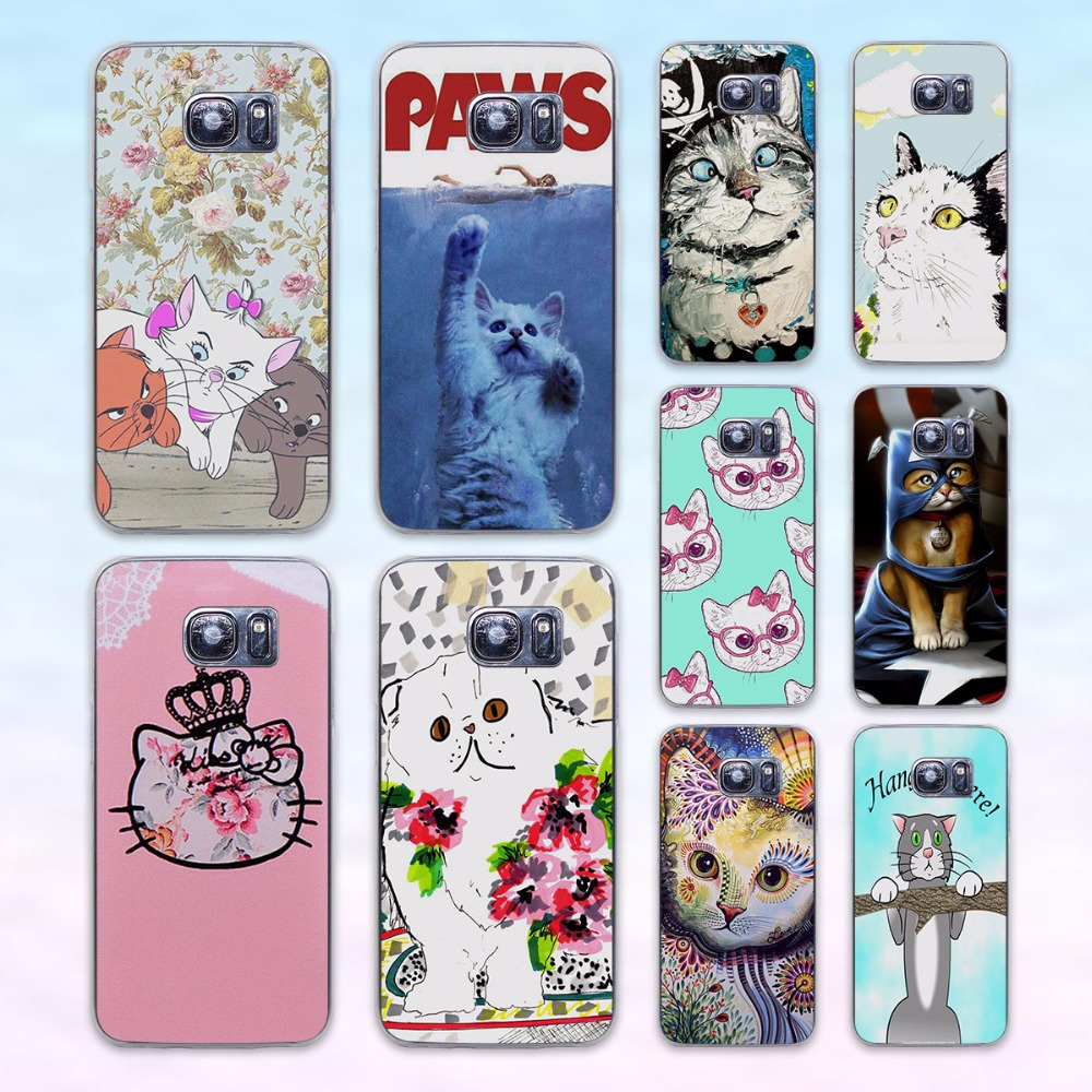 Cute Kawaii kitty cat flower transparent clear hard case cover for Samsung Galaxy s6 s7 edge s4 s5 mini note 4 note5