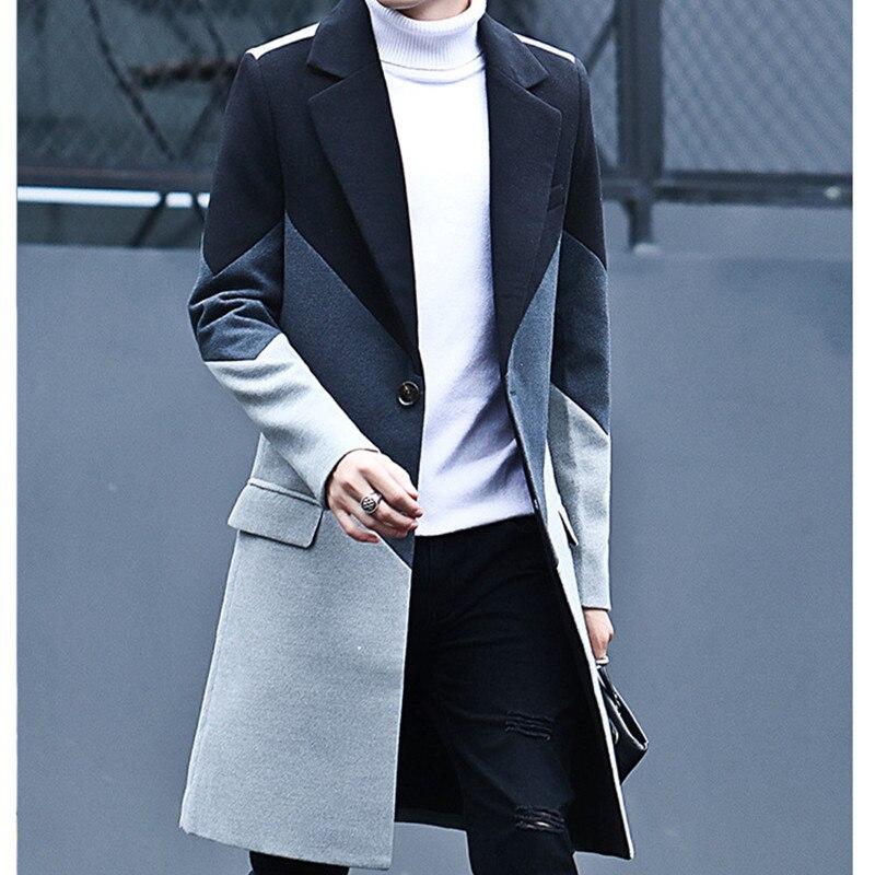 Delgado Hombre Moda Para Negro Coreano Casual Impresión 2018 Estilo De gris Más Abrigos Tamaño Mens Invierno Vestido Abrigo 0wIqnpE
