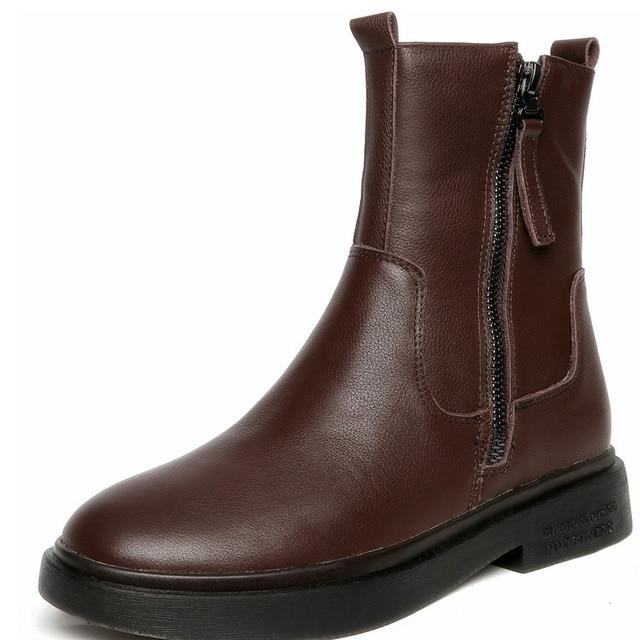 Yeni kış kar botları kadın, deri yumuşak alt Martin çizmeler tendon alt kaymaz rahat uzun tüp kadın botları