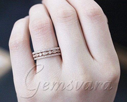 3 Rings Solid 14k Rose Gold Diamond Wedding Bands Engagement Ring Gemstone Jewelry
