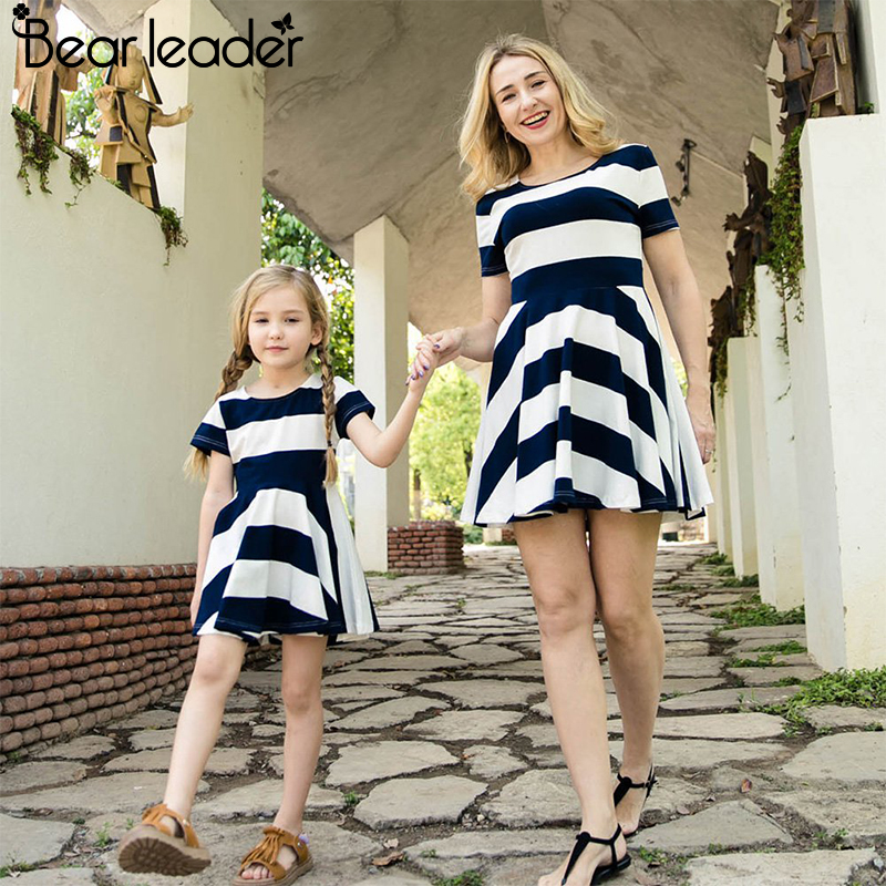 Bear Chief Costume 2018 Spring Household Matching Outfits Mom And Daughter Striped Costume Brief Sleeve Household Matching Garments