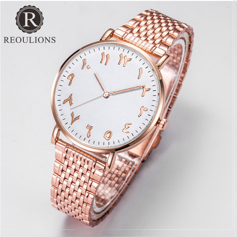 REOULIONS Top Brand Simple Stainless Steel Arabic Numbers Watch Fashion Women Watch Ladies Dress Quartz Wristwatch Montre Femme kevin simple women s watches fashion stainless steel band black ladies quartz watch beauty girl sports wristwatch montre 020