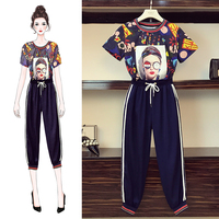 L 4XL Large Size Women's Sets New Summer Short Sleeve Hip Hop Printed T shirts + Casual Long Trousers Loose Students Sport Suits