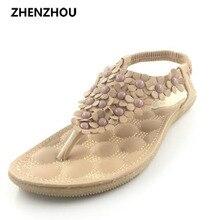 2016 estudiantes de verano contratado flat thong sandalias Bohemia femenina flores con zapatos antideslizantes playa