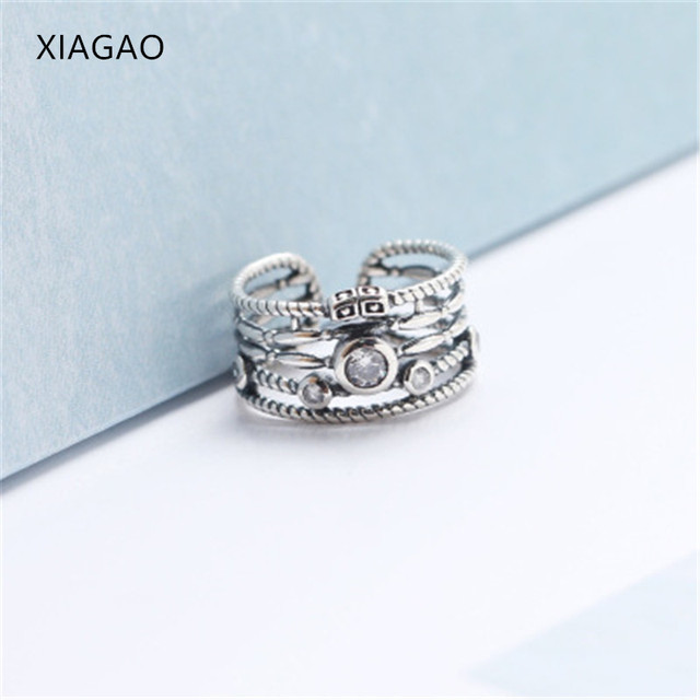 XIAGAO Retro Style Silver Ring Female Wide 925 Sterling Silver Rings for  Women Cubic Zirconia Anel Feminino Vintage Ring CNR245 af815e9ca