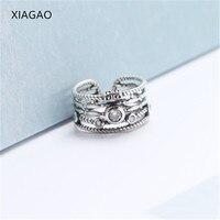 XIAGAO Retro Tarzı Gümüş Yüzük Kadın Geniş 925 Gümüş Yüzük Kadınlar için Kübik Zirkonya Anel Feminino Vintage Yüzük CNR245