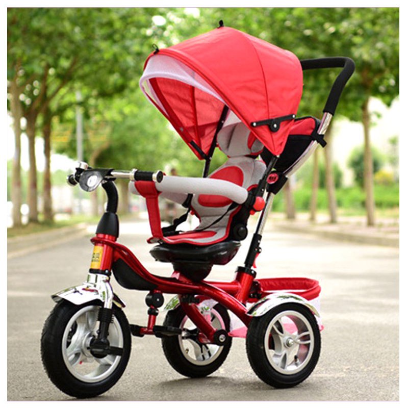 цена на Umbrella Baby Stroller Bicycle Baby Carriage with 3 Wheels Child Tricycle Bicycle Bike with Shopping Cart Adjustable Lying Chair