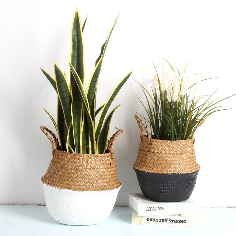 Seagrass Folding Handmade Storage Basket Decorative Rattan Plant Flower Pot Woven Wicker Belly Laundry Basket Home Decor