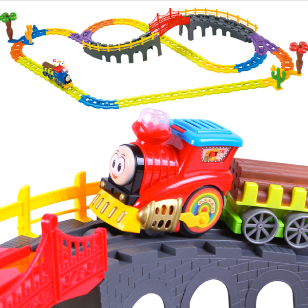 D1020 Free shipping Thomas train track electric music suits educational toys for children toys for holiday gifts