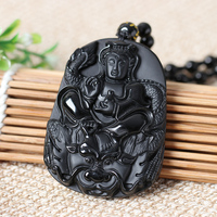 Bao Wu Light Natural Pumice Obsidian Obsidian Pendant Long Guan Xiang Xuan Dragon Pendant Wangzun Men