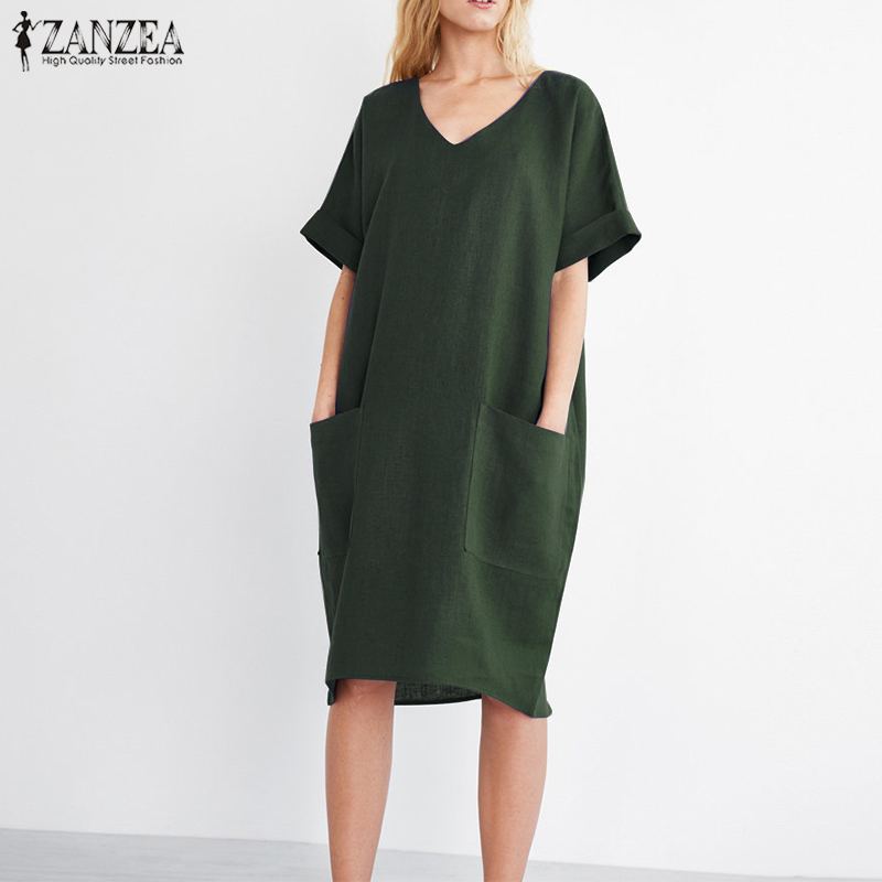 2018 ZANZEA Summer Women V Neck Short Sleeve Pockets Loose Solid Shirt Vestido Casual Elegant Cotton Linen Work Dress Plus Size