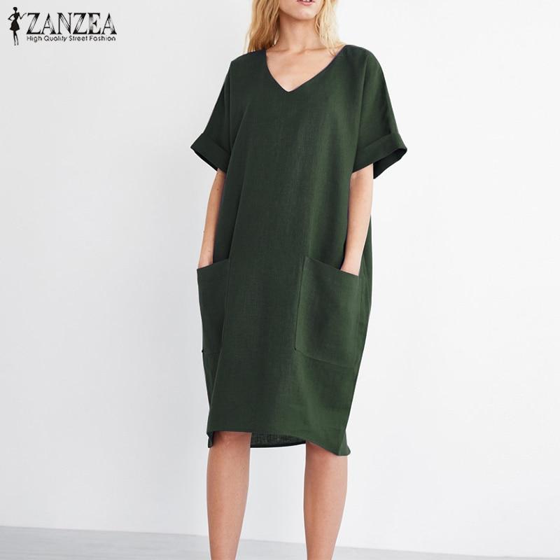 2018 ZANZEA Summer Women V Neck Short Sleeve Pockets Loose Solid Shirt Vestido Casual Elegant Cotton Linen Work Dress Plus Size