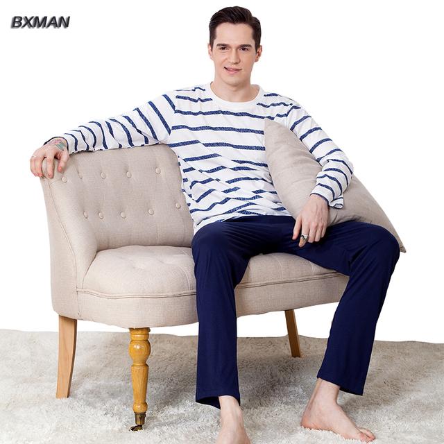 BXMAN Marca Clásica de Los Hombres Pijamas de Hombre de Algodón A Rayas O-cuello de La Manga Completa ropa de Noche Pijama Traje a Casa 73