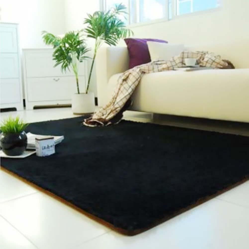Fluffy Rugs Anti Skiding Shaggy Area Rug Dining Room Carpet Floor Mats Black