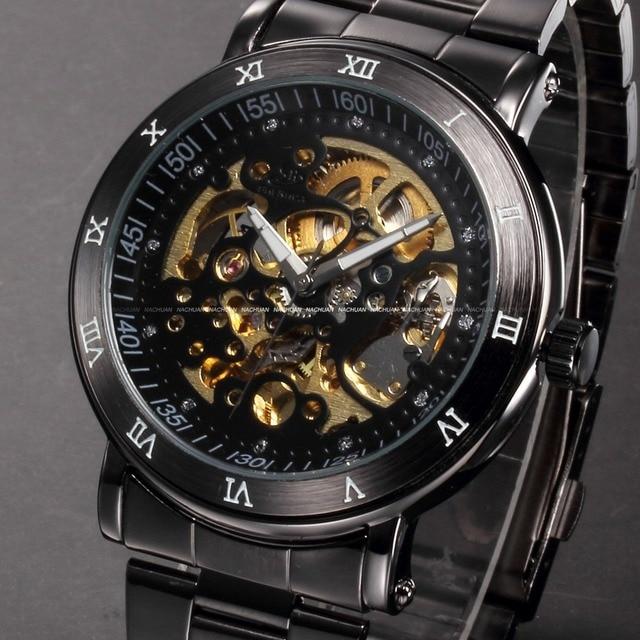 55c173eaa05 Fashion Male Clock Relogios Skeleton Watches Men Luxury Brand Montre Homme  Full Steel Wristwatch Men Automatic Watch   PMW210