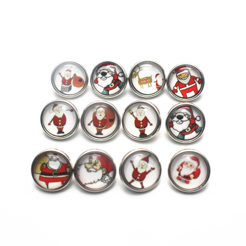 Hot selling 12pcs/lot Father Christmas Snap Buttons Charms 12mm Glass Buttons Fit DIY Snap Bracelets&bangle Decoration Jewelry image