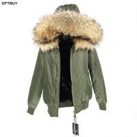 Водостойкая куртка бомбер с большим мехом енота с капюшоном зимняя куртка женская парка природный натуральный мех пальто для женщин теплая