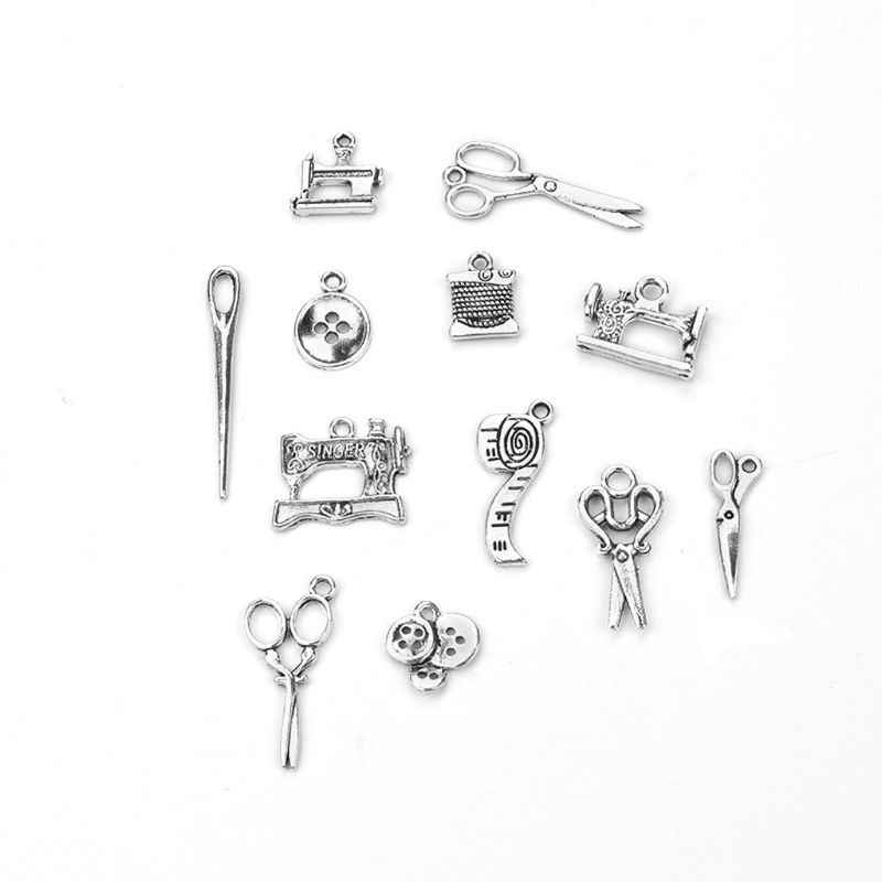 12Pcs Sewing Charms Collection Antique Silver Scissors Pendant Jewelry Findings Necklaces Bracelets Key Chains Jewellery Making