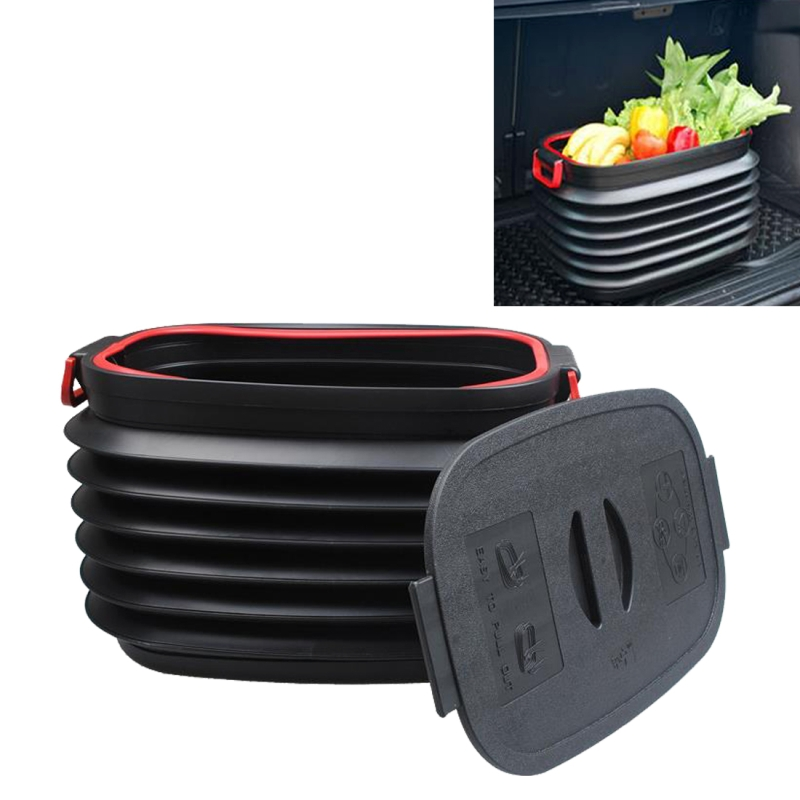 37L Car Collapsible Plastic Organizer Bin with Lid for Camping and Outdoor