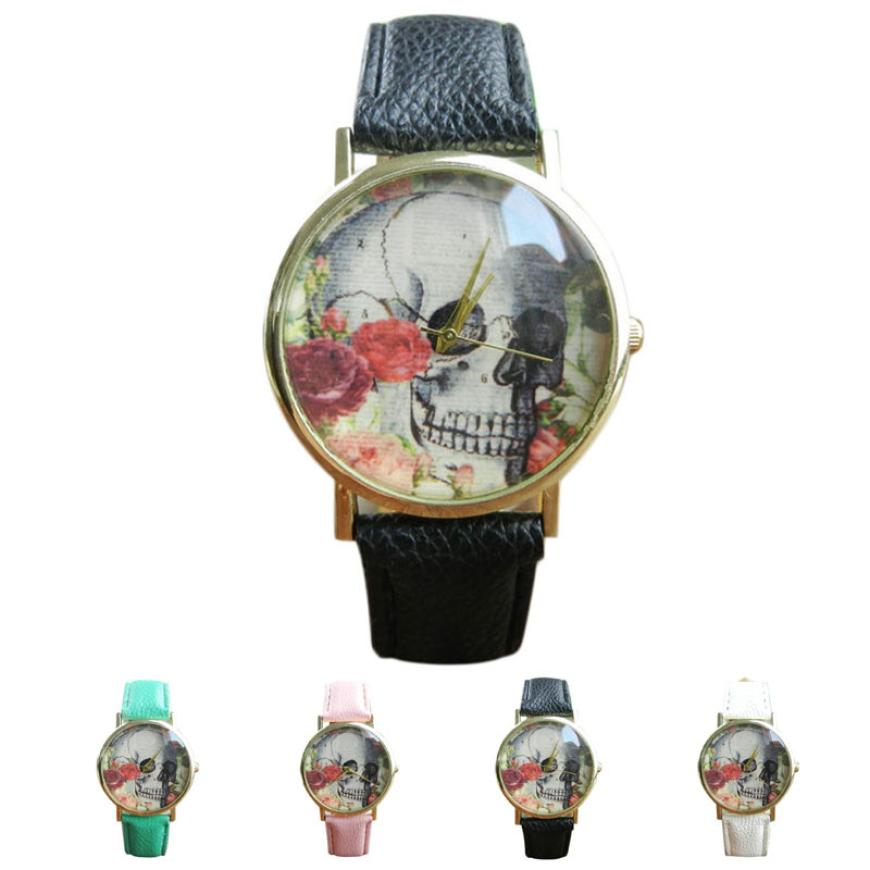 Watch Women Clock Skull Pattern Leather Leisurely Band Analog Quartz Vogue Charming Wrist Watch Temperament High Quality Gift M5